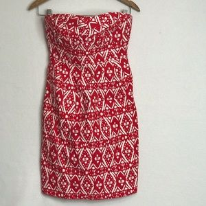 J CREW FACTORY STRAPLESS HOLIDAY RED DRESS SIZE 0